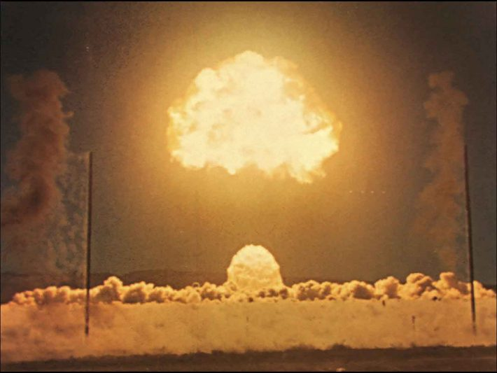 "An undated handout still image of Harold Edgerton's footage of a nuclear explosion in the 1950's. ""Damage Control,"" an exhibition at the Hirshhorn Museum, explores a neglected trend in which artists have been more into breaking than making. (MIT Museum via The New York Times) -- NO SALES; FOR EDITORIAL USE ONLY WITH STORY SLUGGED DESTRUCTION EXHIBIT BY BLAKE GOPNIK. ALL OTHER USE PROHIBITED."