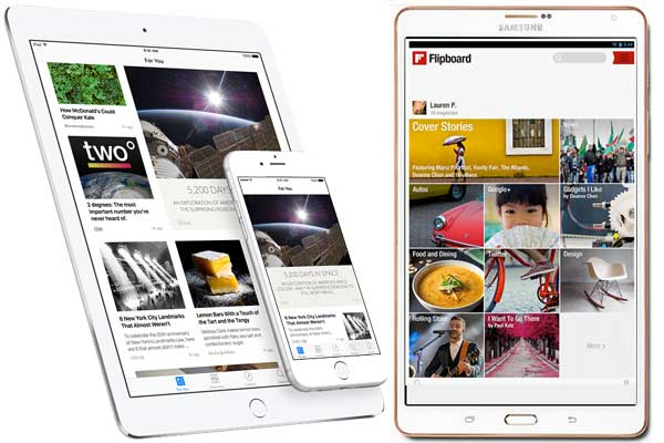 Telas do Apple News (à esquerda) e do Flipboard